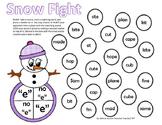 Snowman Snowball Fight BUMP Long vs Short Vowel CVC CVCe silent e
