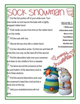 Snowman Sock Craft Instructions