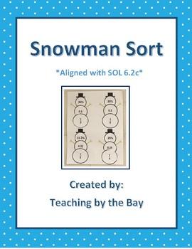 Snowman Sort (Equivalent Fractions, Decimals, & Percents)