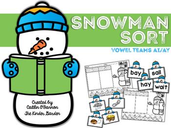 Snowman Sort Phonics Center {Vowel Teams ai ay}