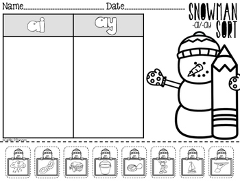 Snowman Sort Phonics Center {Vowel Teams ai ay}