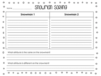 Snowman Sorting ~ An Attribute Activity