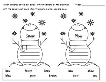 """OW"" Vowel Practice:  Snowman Sorting Morning Work"