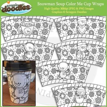 Snowman Soup Color Me Cup Wraps Printable Craft