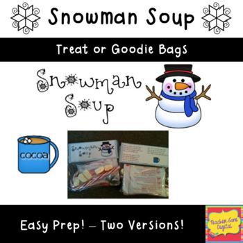 photo about Snowman Soup Free Printable Bag Toppers referred to as Snowman Soup Bag Topper Printable Worksheets TpT