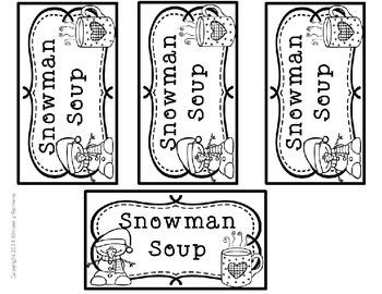 Snowman Soup Labels- Christmas Gift