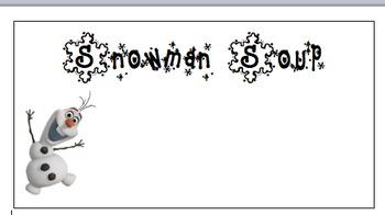 Snowman Soup Labels-Editable