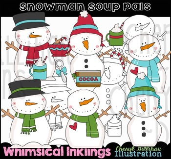 Snowman Soup Pals Clipart Collection NO LICENSE REQUIRED