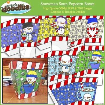 Snowman Soup Popcorn Boxes Printable Craft