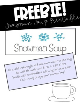 graphic regarding Snowman Soup Poem Printable called Snowman Soup Printable with Poem
