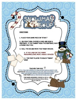 Snowman Soup Sight Word Sentence Game for Kindergarten Thr