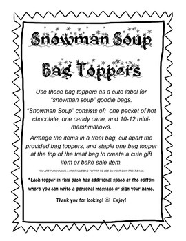 Snowman Soup Treat Bag Topper