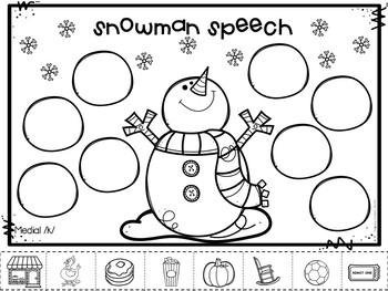 Snowman Speech - No Prep Speech Therapy for Winter