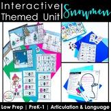 Snowmen Speech Therapy Activities: Interactive Winter Animal Unit