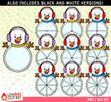 Snowman Spinners Winter Clip Art