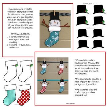 Snowman Stocking Craft