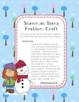 Snowman Story Problem Craft