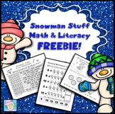 Winter Math and Literacy Packet Kindergarten, First Grade FREE
