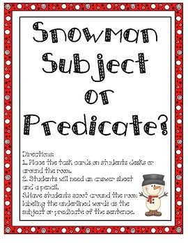 Snowman Subject or Predicate Scoot