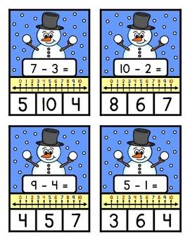 NUMBER LINE SUBTRACTION TO TEN - Snowman Theme
