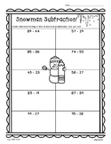 Snowman Subtraction!  2 and 3 digit Subtraction w/Regrouping Practice - 2 sheets