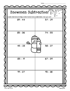 Snowman Subtraction!  2 and 3 digit Subtraction w/Regroupi