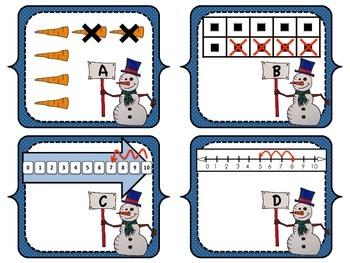 Snowman Subtraction Scavenger Hunt