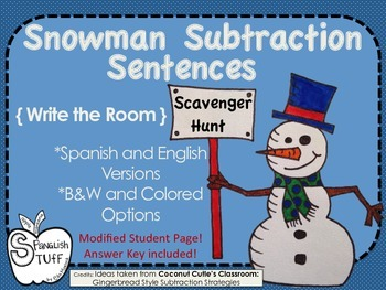 Snowman Subtraction Scavenger Hunt