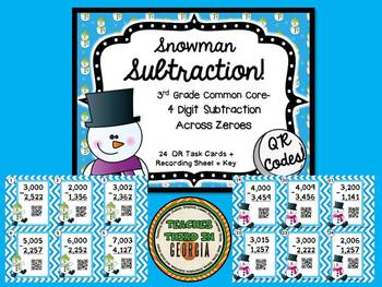 Snowman Subtraction- Subtraction With Regrouping Across Zeroes-QR Task Card Kit