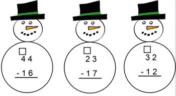 Snowman Subtraction With and Without Regrouping Smartboard
