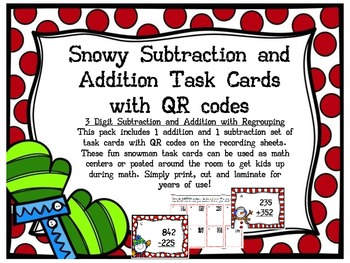 Snowman Subtraction and Addition Task Cards with QR Codes