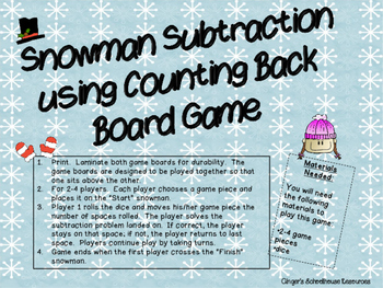 Snowman Subtraction using Counting Back Game Board