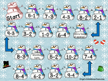 Snowman Subtraction within 10 Board Game
