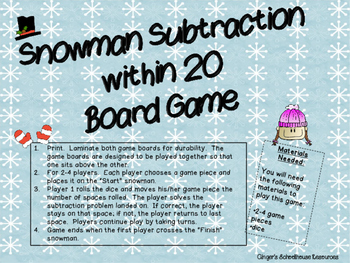 Snowman Subtraction within 20 Board Game