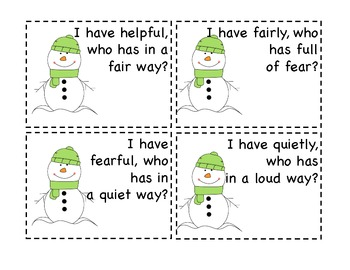 Snowman Suffixes--I Have Who Has