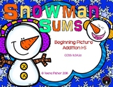 Snowman Sums Picture Addition 1-5 Kindergarten Grade Christmas File Folder Game