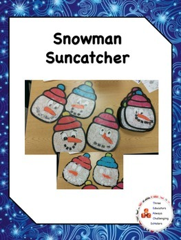 Snowman Suncatcher Craft with Writing