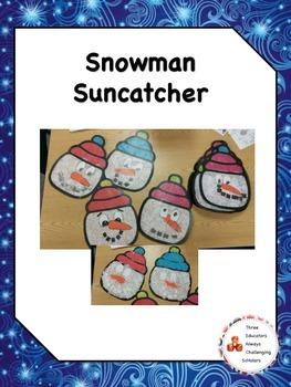 Snowman Suncatcher Craft with Writing