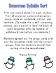 Snowman Syllable Sort-A Winter Independent Literacy Center