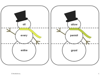 Snowman Synonyms - 4th & 5th Grade Common Core