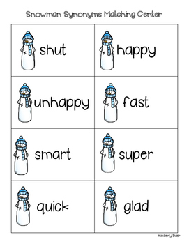 Snowman Synonyms Matching Center and Recording Sheet
