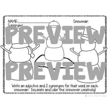 Snowman Synonyms: a synonym writing craftivity