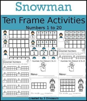Snowman Ten Frame Activities (1-20)