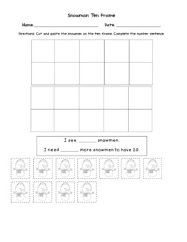 Snowman Ten Frame Counting and Number Sentences