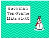 Mini Eraser Snowman Ten-Frame Mats Numbers 1-20