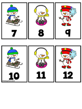 Snowman Ten Frame  Number Match 1-20