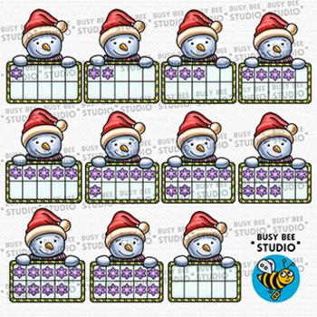 Snowman Ten Frames Clip Art