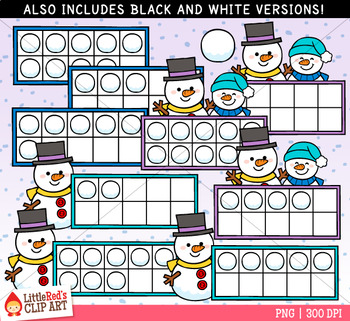 Snowman Ten Frames Winter Clip Art