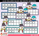 Snowman Ten Frames Winter Clip Art