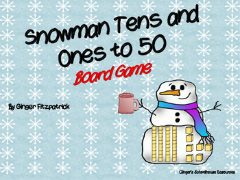Place Value Snowman Tens and Ones to 50 Board Game